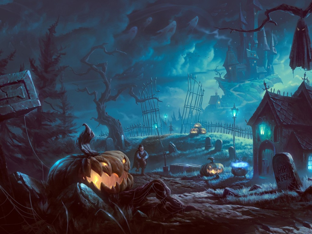 Fantasy Wallpaper: Halloween - Cemetery