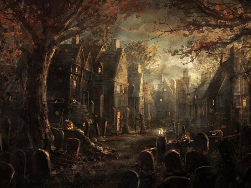 Fantasy Wallpaper: Halloween - Village