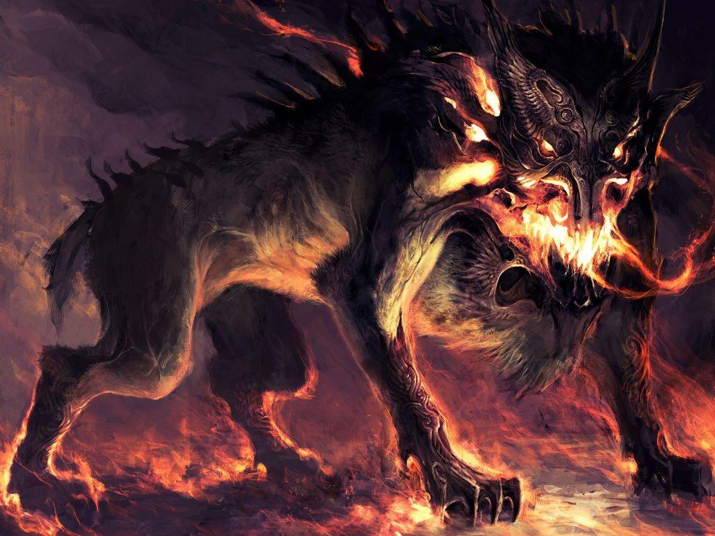 Papel de Parede Gratuito de Fantasia : Cão do Inferno