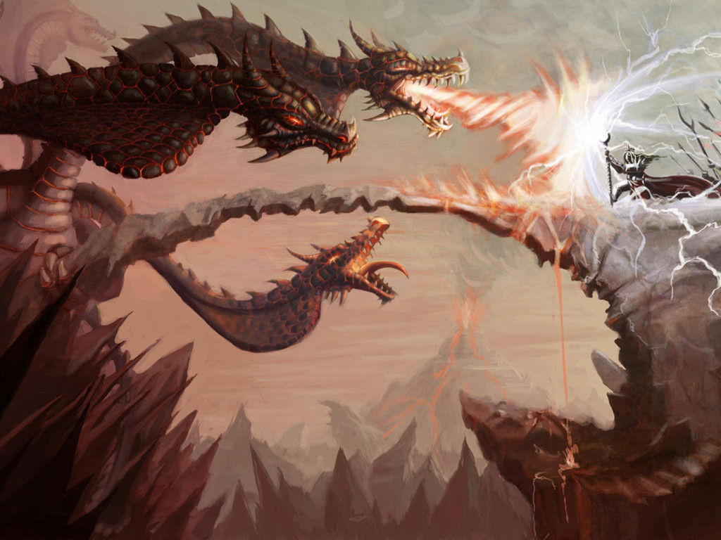 Fantasy Wallpaper: Hydra Attack