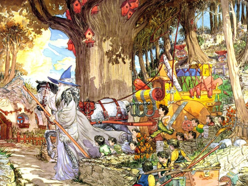 Fantasy Wallpaper: Lord of the Rings - Gandalf at Hobbiton