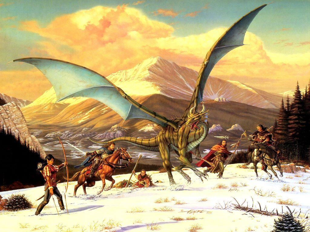 Fantasy Wallpaper: Hunting a Dragon