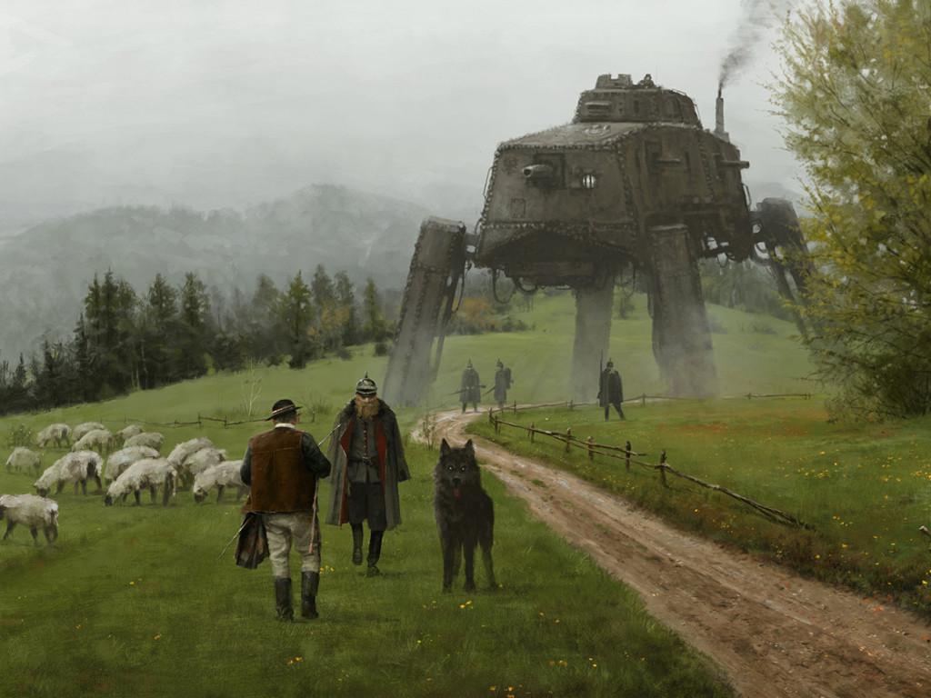 Fantasy Wallpaper: Jakub Rozalski - Like a Wolf Among Sheeps