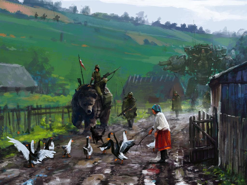 Fantasy Wallpaper: Jakub Rozalski - On the Road