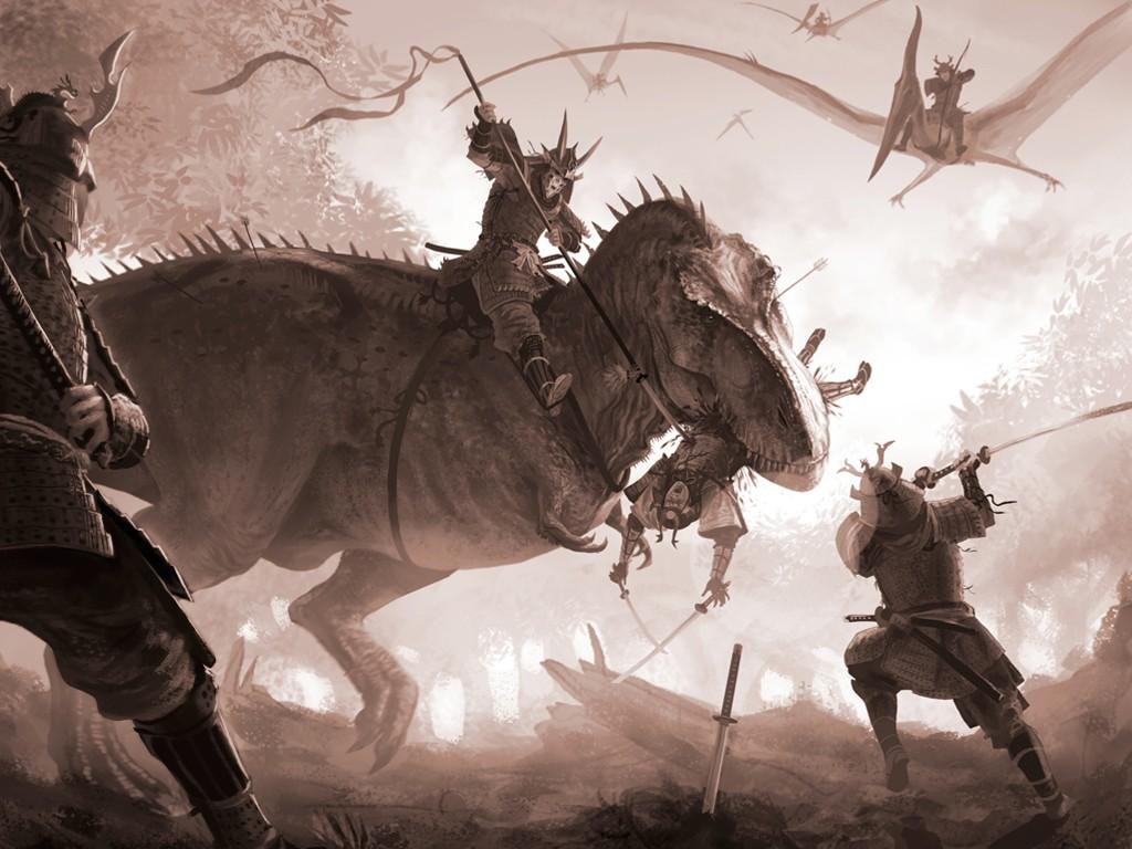 Fantasy Wallpaper: Jurassic Samurai