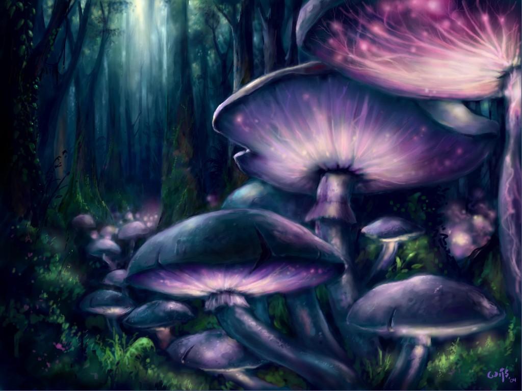Fantasy Wallpaper: Living Mushrooms