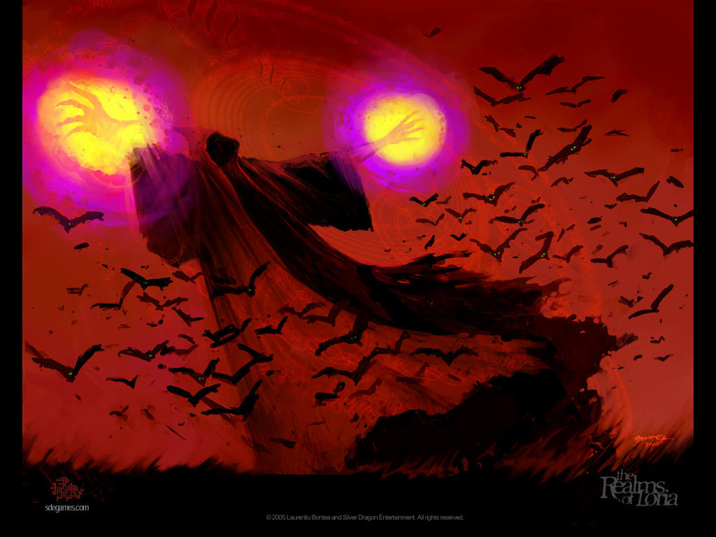 Fantasy Wallpaper: Mage Attacked by Vampire Bats