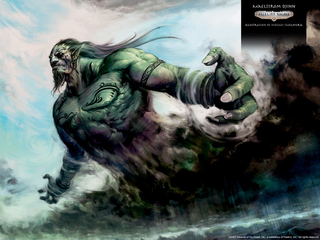 Fantasy Wallpaper: Magic the Gathering - Maelstrom Djinn