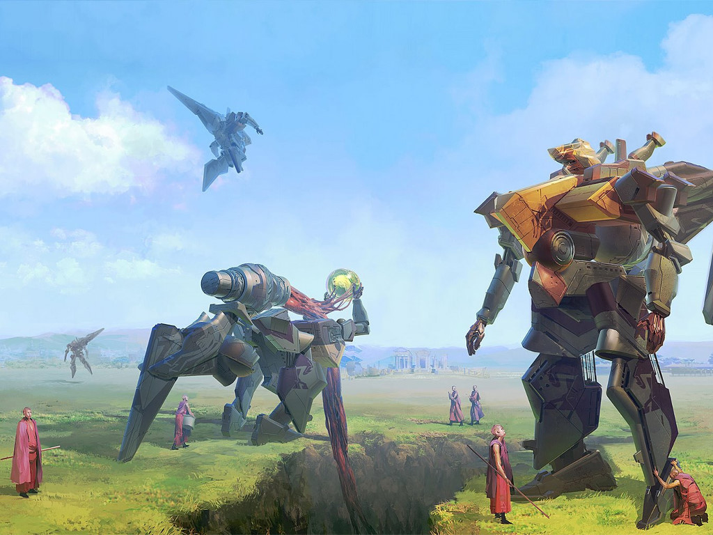 Fantasy Wallpaper: Monks and Mechs