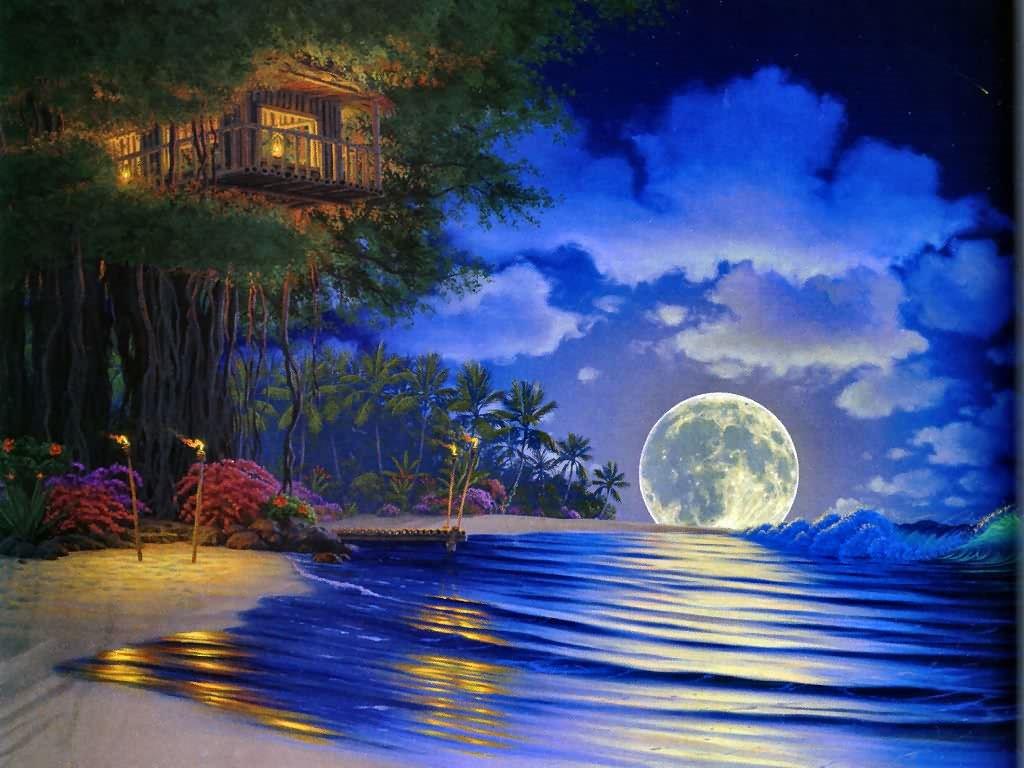 Fantasy Wallpaper: Moonlight Magic