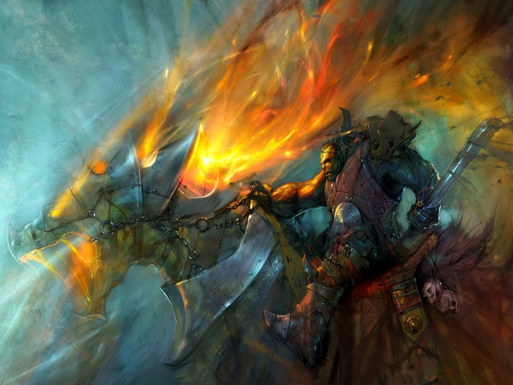 Fantasy Wallpaper: Orc - Dragon Rider