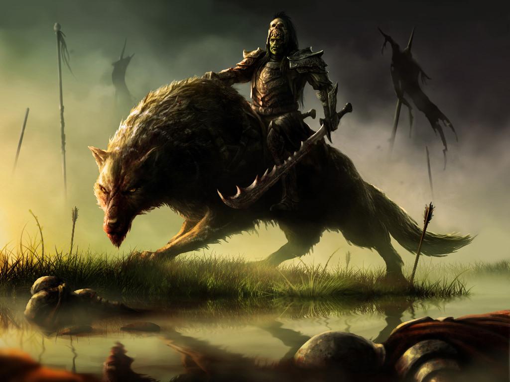 Fantasy Wallpaper: Orc - Warg