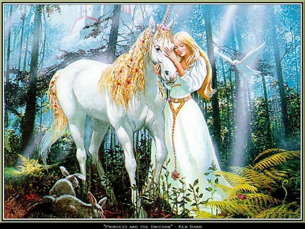 Fantasy Wallpaper: Princess and the Unicorn