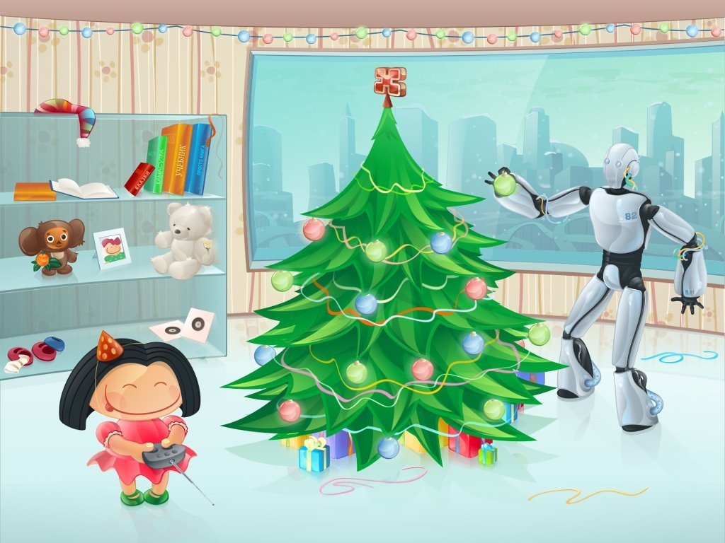 Fantasy Wallpaper: Robot - Christmas
