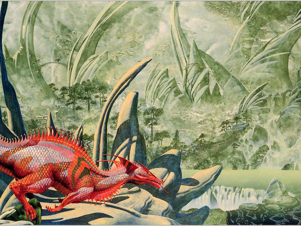 Fantasy Wallpaper: Roger Dean - Red Dragon