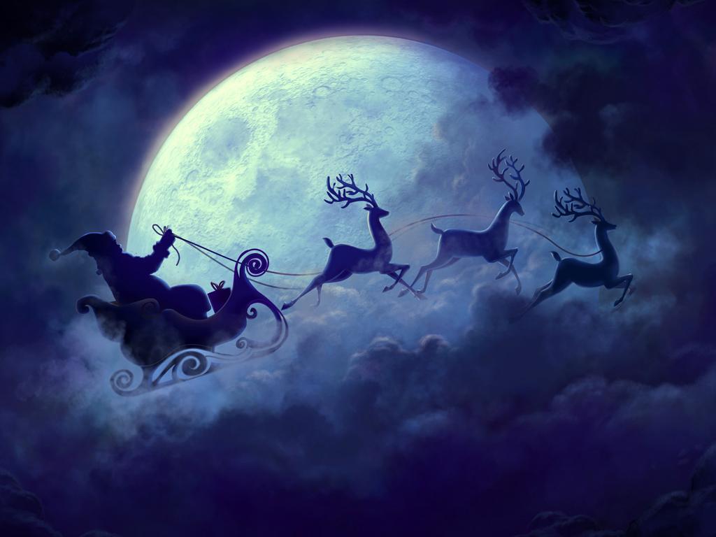 Fantasy Wallpaper: Santa - Moon