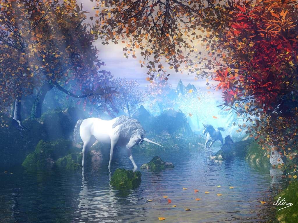 Fantasy Wallpaper: The Secret Valley of the Unicorns