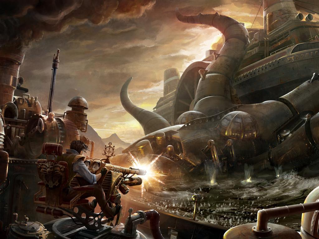 Fantasy Wallpaper: Steampunk Leviathan