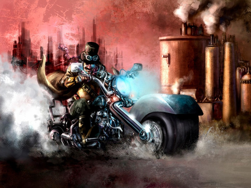 Fantasy Wallpaper: Steampunk Motorcycle