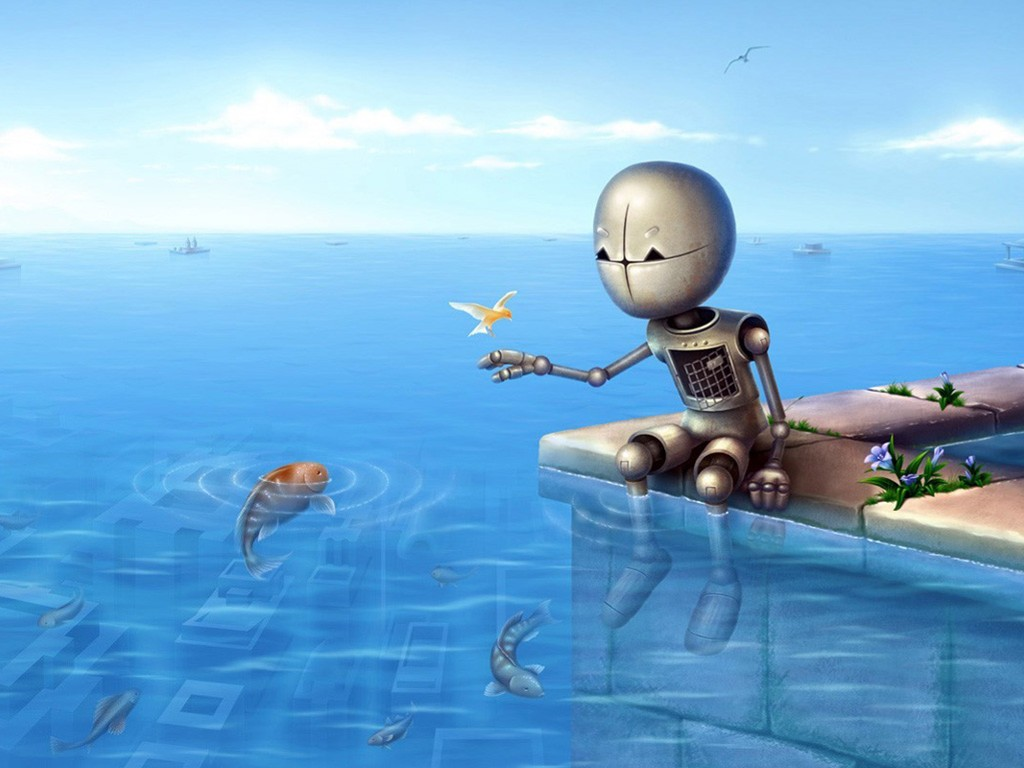 Fantasy Wallpaper: The Robot and the Fish
