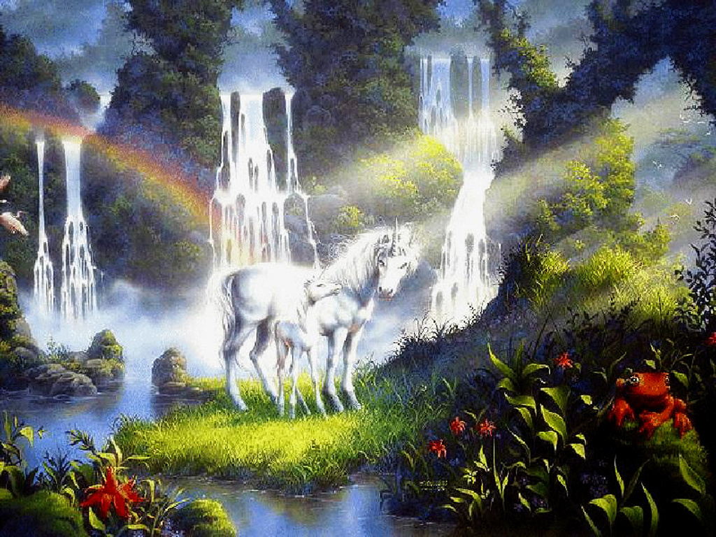 Fantasy Wallpaper: Unicorns and Waterfall