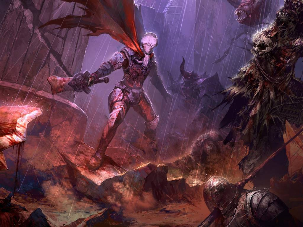 Fantasy Wallpaper: Warrior vs Demons