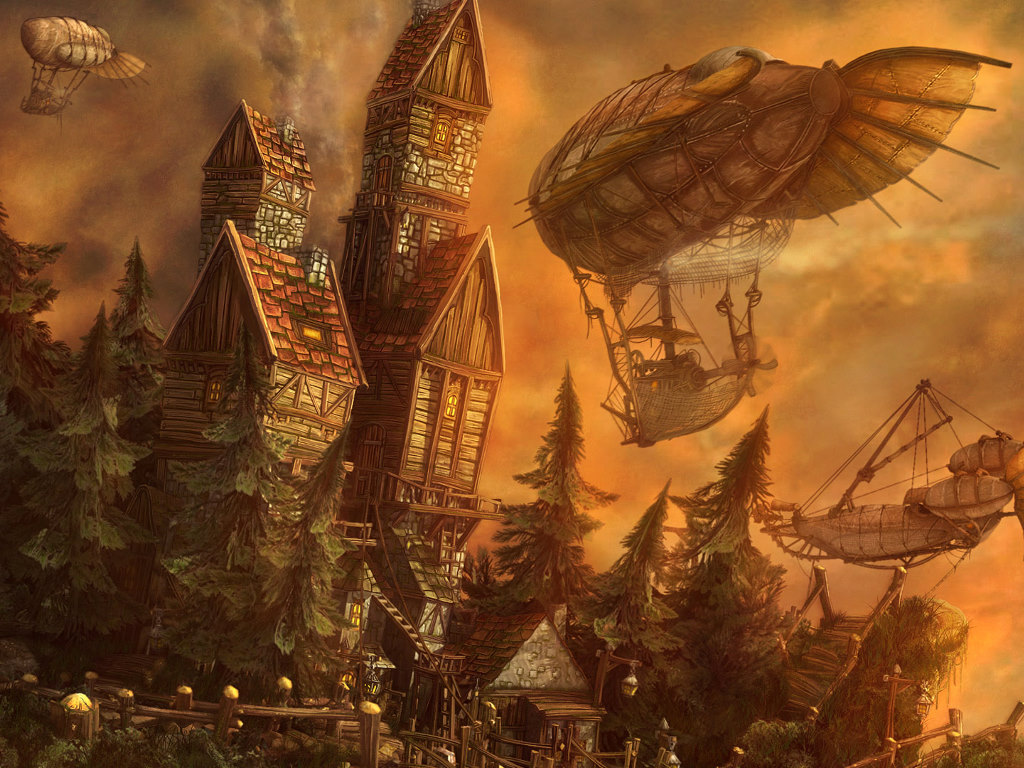 Fantasy Wallpaper: Zeppelins