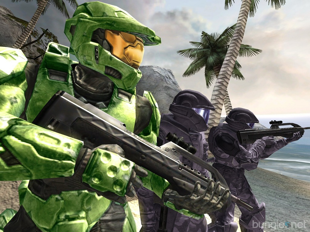 Games Wallpaper: Halo 2 - Masterchief and Soldiers
