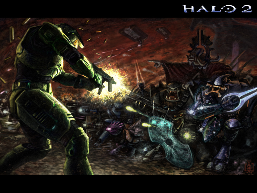 Games Wallpaper: Halo 2 - MasterChief Strikes the Covenant