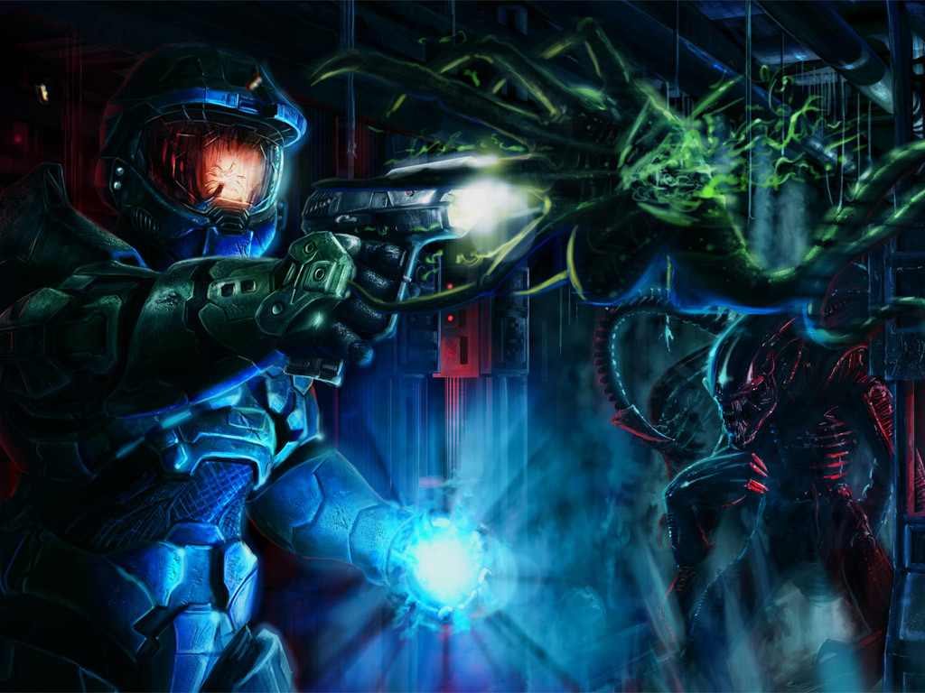 Games Wallpaper: Halo vs Aliens
