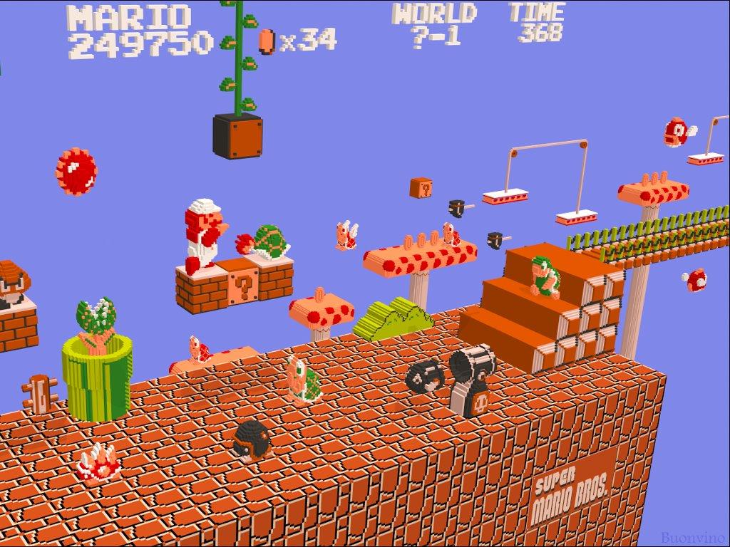 Games Wallpaper: Mario NES - 3D