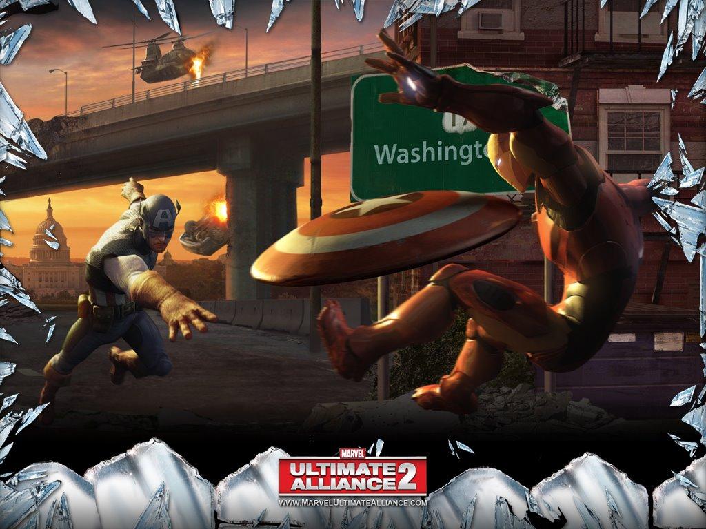 Games Wallpaper: Marvel Ultimate Alliance 2 - Captain America vs Iron Man