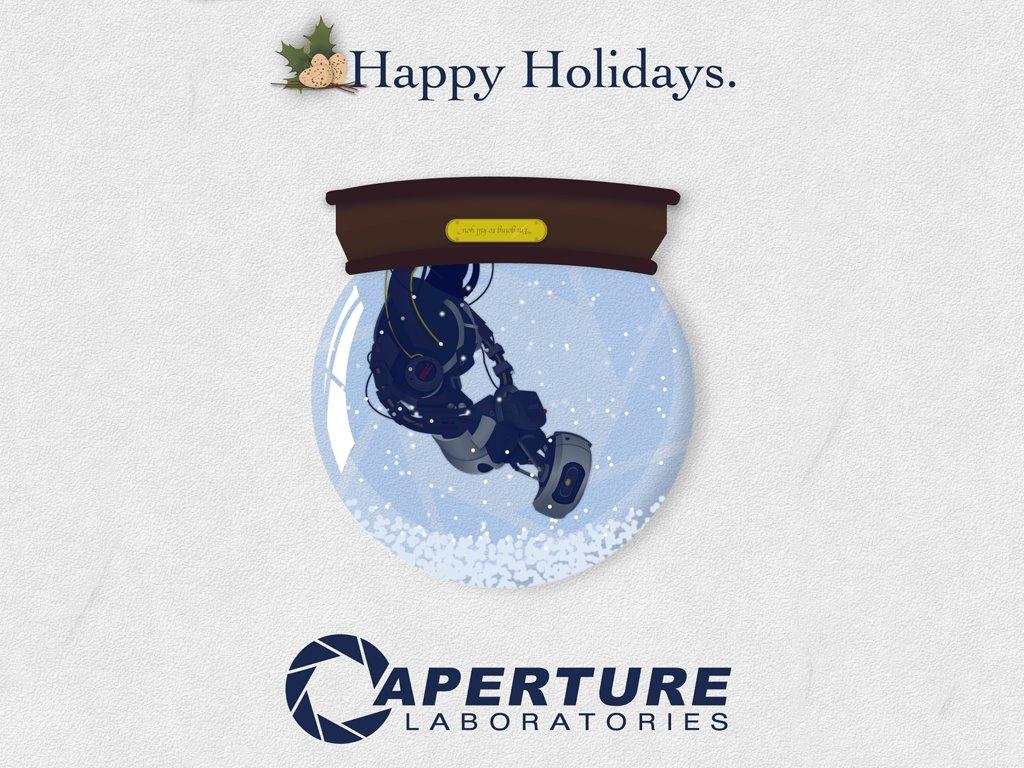 Games Wallpaper: Portal - Christmas Card