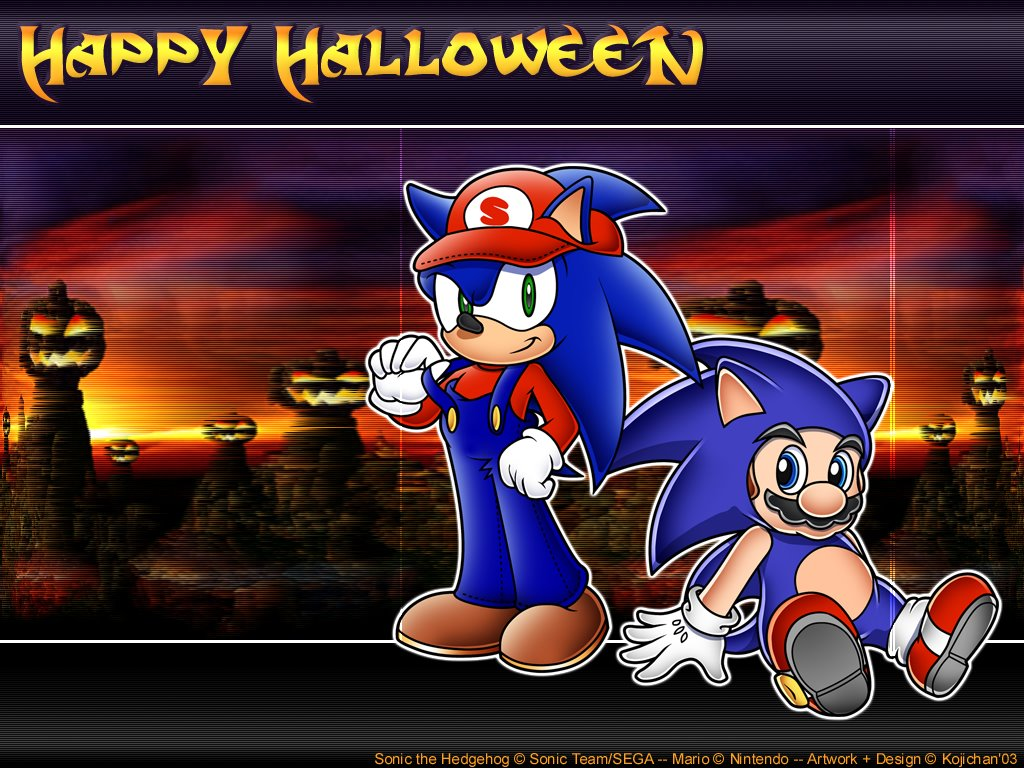 Games Wallpaper: Sonic and Mario - Halloween