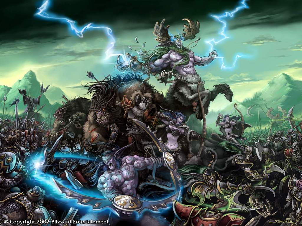 Games Wallpaper: Warcraft 3 - Night Elves vs the Undead