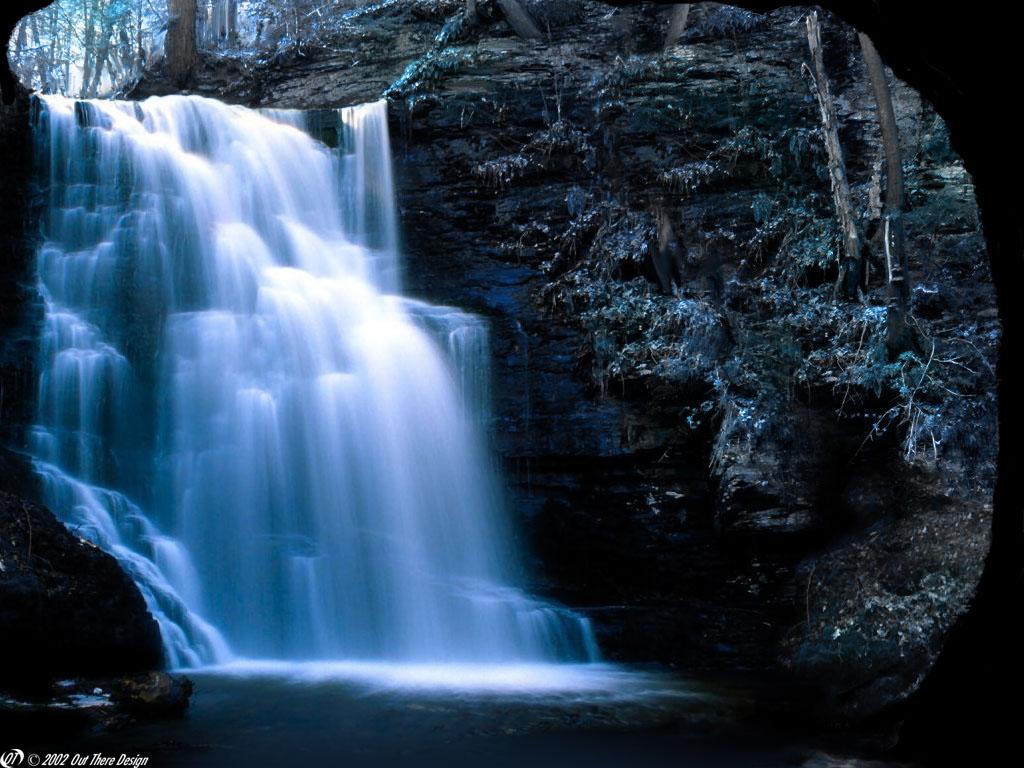 Nature Wallpaper: Deep Blue Waterfall