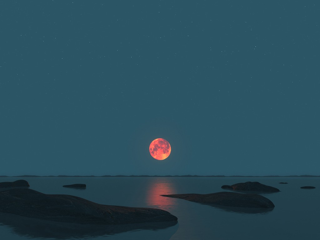 Nature Wallpaper: Red Moon Over Ocean