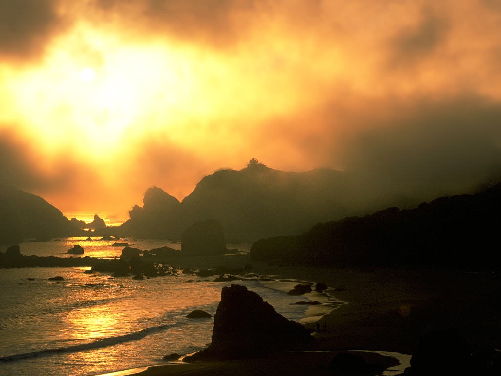 Nature Wallpaper: Smoke and Fog at Sunset