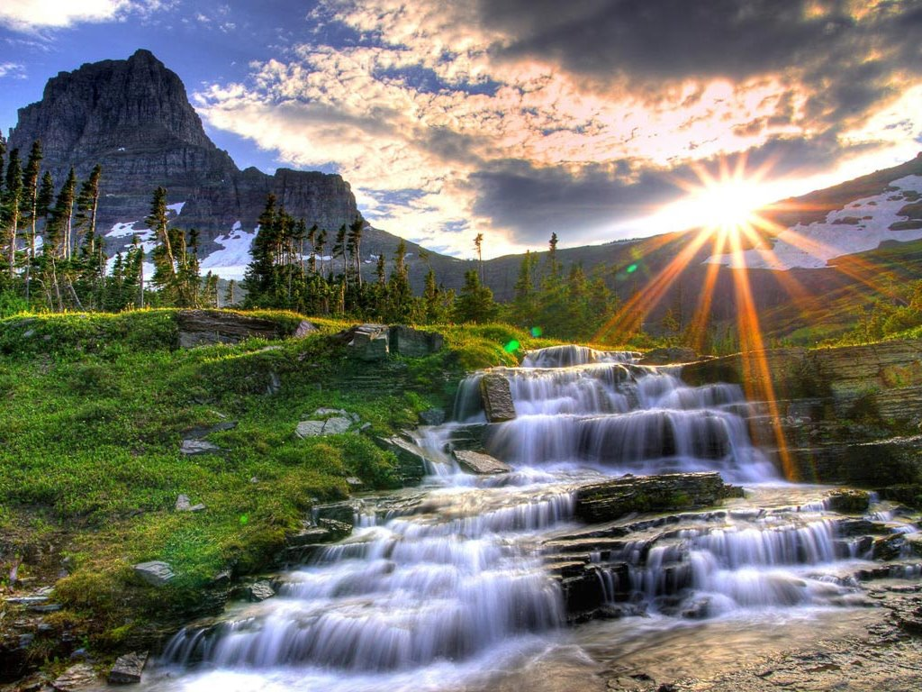 Nature Wallpaper: Waterfall and Sunset