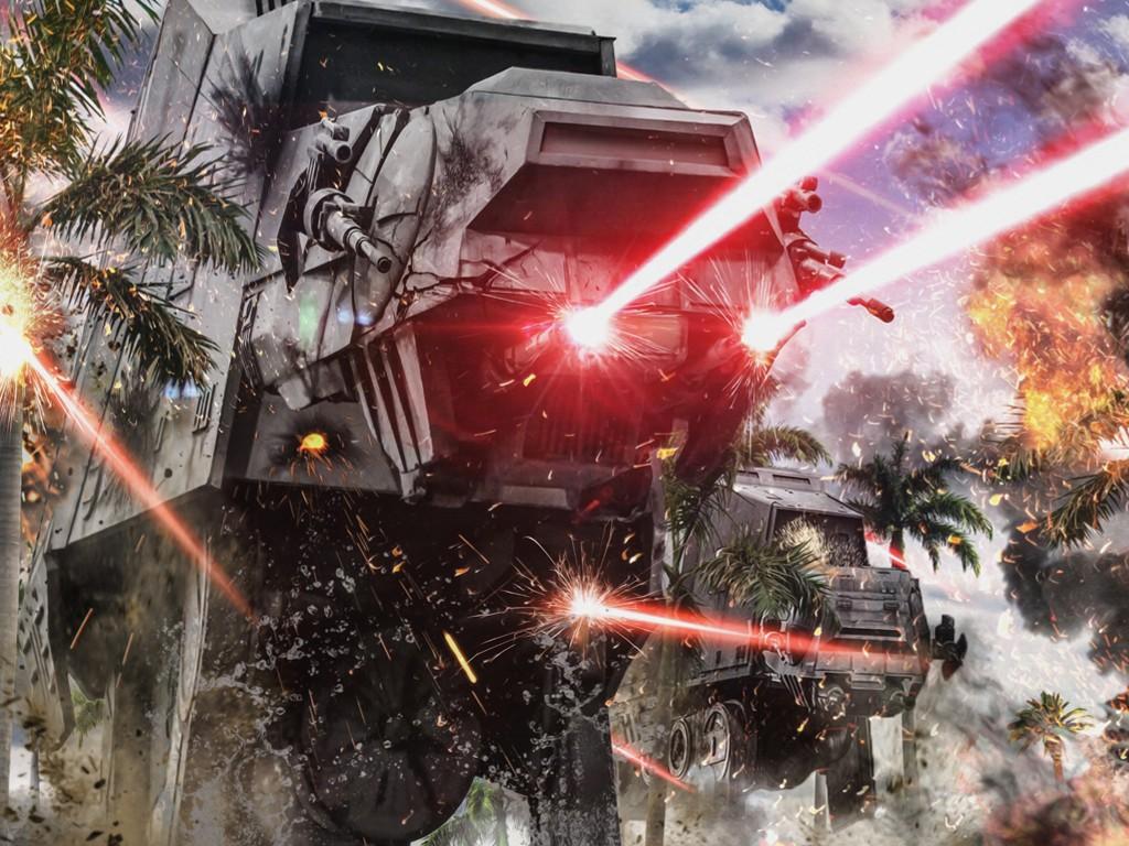 Star Wars Wallpaper: AT-AT - Beach Attack