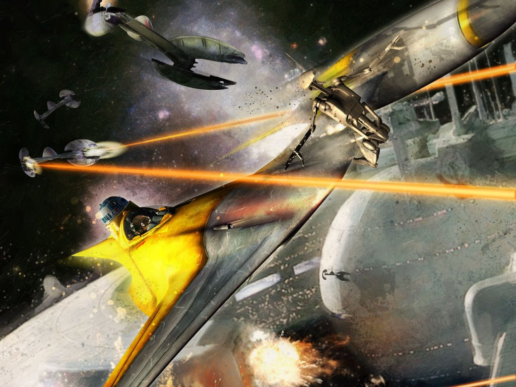 Star Wars Wallpaper: Battle of Naboo - Starfighter