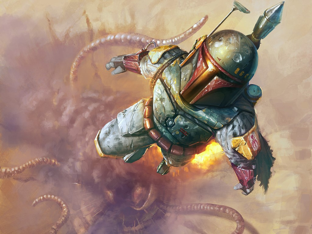 Star Wars Wallpaper: Boba Fett - Escapes from the Sarlacc