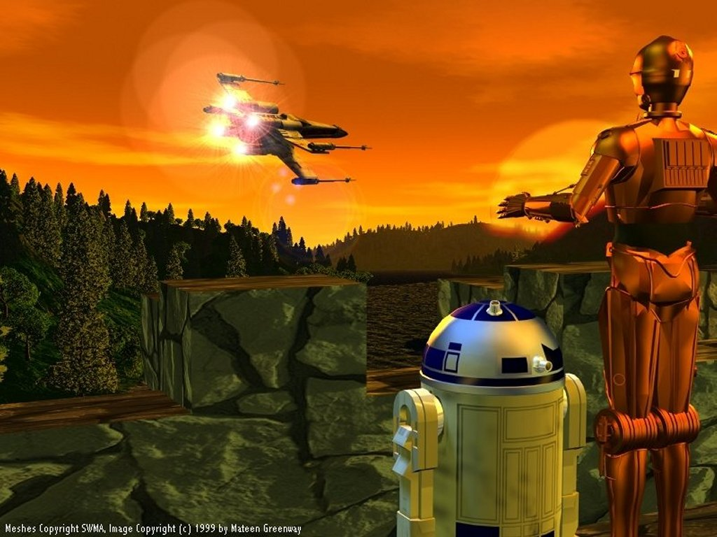 Star Wars Wallpaper: Bots and a X-Wing