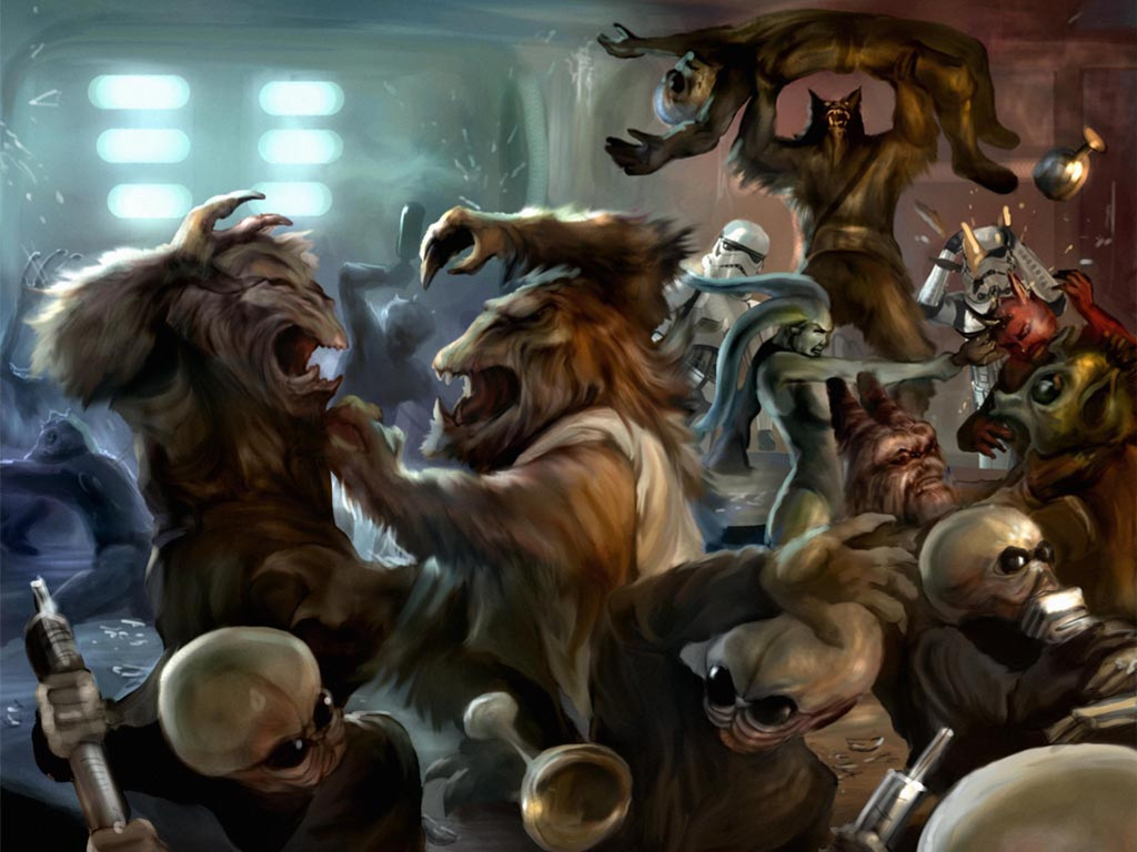 Star Wars Wallpaper: Cantina Fight