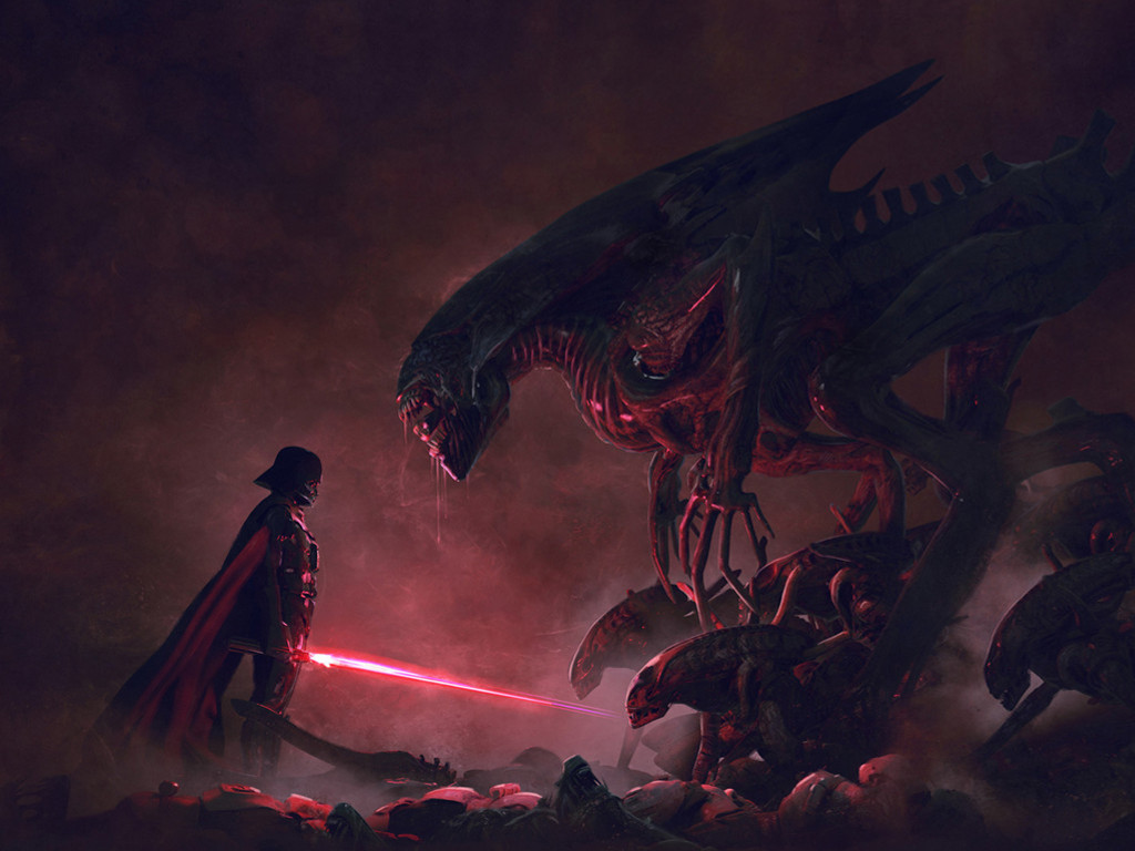 Star Wars Wallpaper: Darth Vader vs Aliens