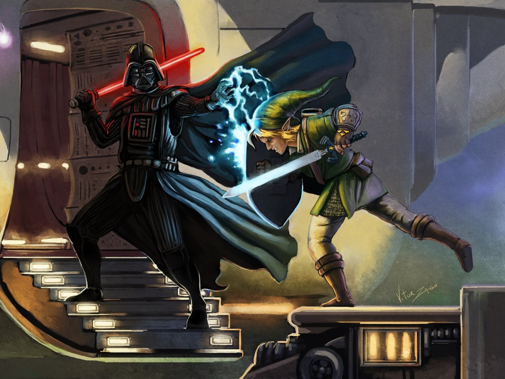 Star Wars Wallpaper: Darth Vader vs Link