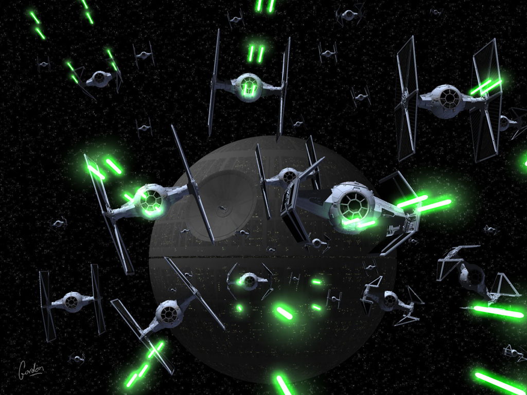 Star Wars Wallpaper: Death Star - Fleet (copyright by Gordon Brinkmann)