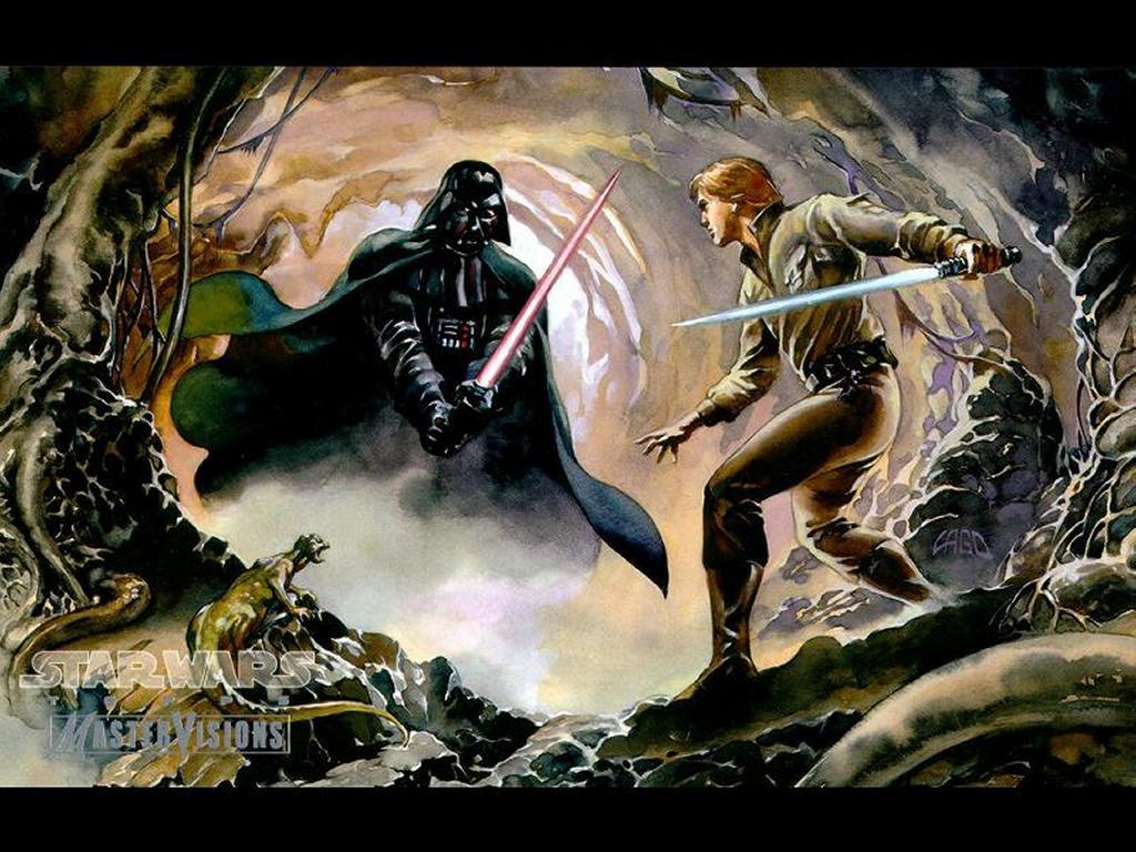 Star Wars Wallpaper: Drawning - Vader vs Luke in Dagobah