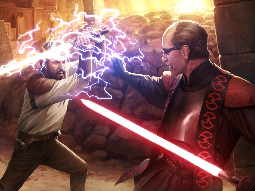 Star Wars Wallpaper: Duel at the Valley of the Jedi (by Darren Tan)