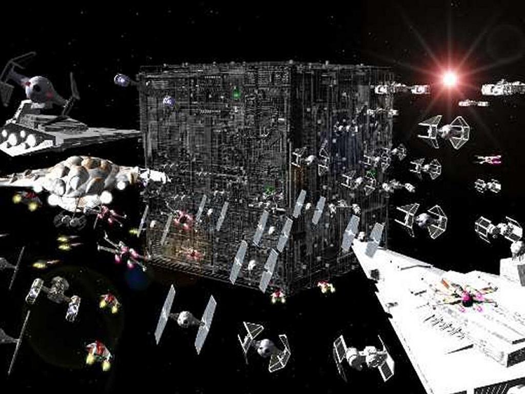 Star Wars Wallpaper: Empire vs Borg Cube